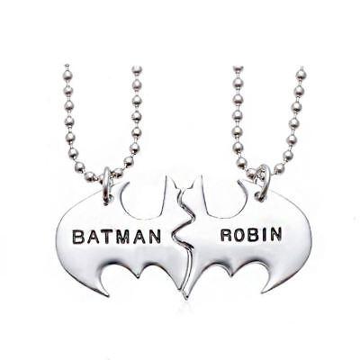 925 Silver Plt /'Batman Robin/' Best Friends Pendant Necklace Dark Knight A