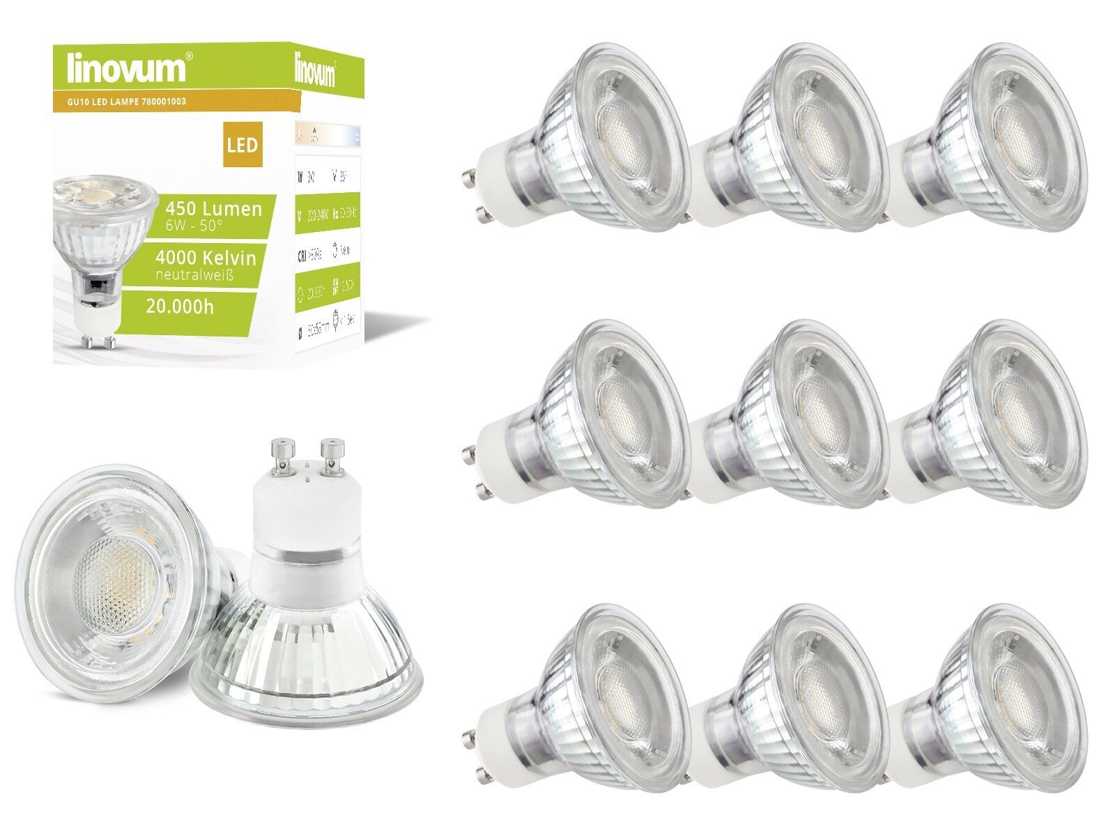 10x linovum 6W GU10 LED Lampen Set ersetzt 50W neutralweiß 4000K Leuchtmittel