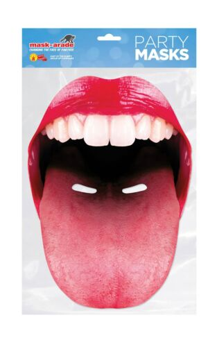 LIPS OR TONGUE MOUTH FACE CARD MASKS FANCY DRESS ACCESSORY