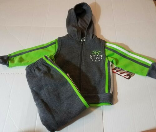 NWT TODDLER BOYS TUFF GUYS 3 PC SWEATSUIT ALL STAR LIME GRAY PANTS SHIRT VEST