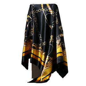 Women-039-s-Black-amp-Gold-Print-Hijab-Foulard-soie-satin-tete-carree-Chale-Foulards-35-034-35-034