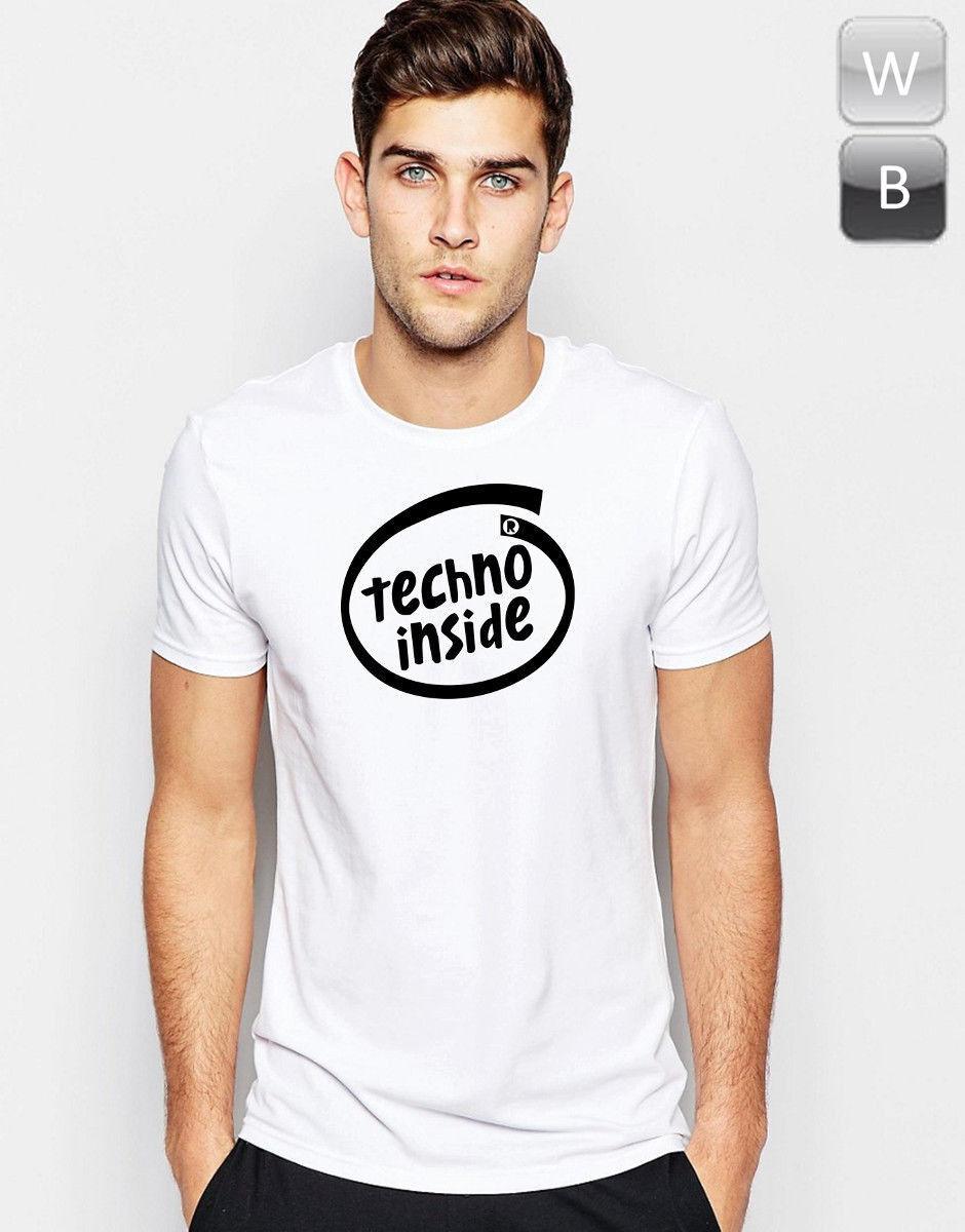 Techno Inside T-shirt Dance Zene Rave House DJ Fesztivál Unisex ajándék grafikus tee
