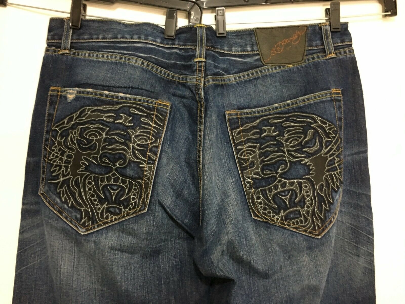 Ed Hardy bluee Jeans Men 40 x 34 Cut-Out Stitched Tigers Distressed 5 Button