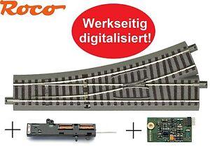 Roco-H0-61140-geoLine-Weiche-links-Antrieb-61195-Digital-Decoder-61196-NEU