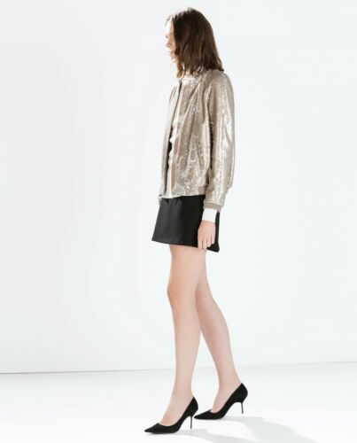 Neuf Sequins Sold 34 138 Out Paillettes Or Zara Xs Veste Doré Bomber 8077 SqxCOPwY
