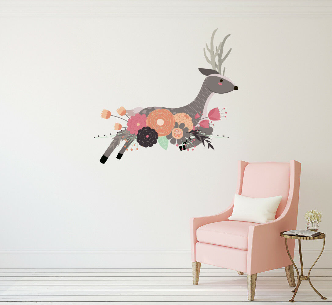 Animal Wall Decal Deer with Flowers Full Farbe Vinyl Sticker Woodland Mural ba67