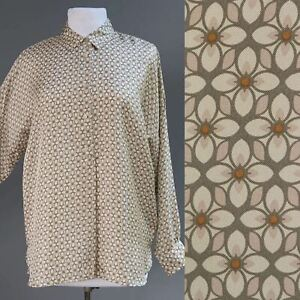 dd8b6120e3 Details about 0039 Italy 100% Thick Scarf Silk Art Deco Geometric Floral  Tunic Top Blouse S M