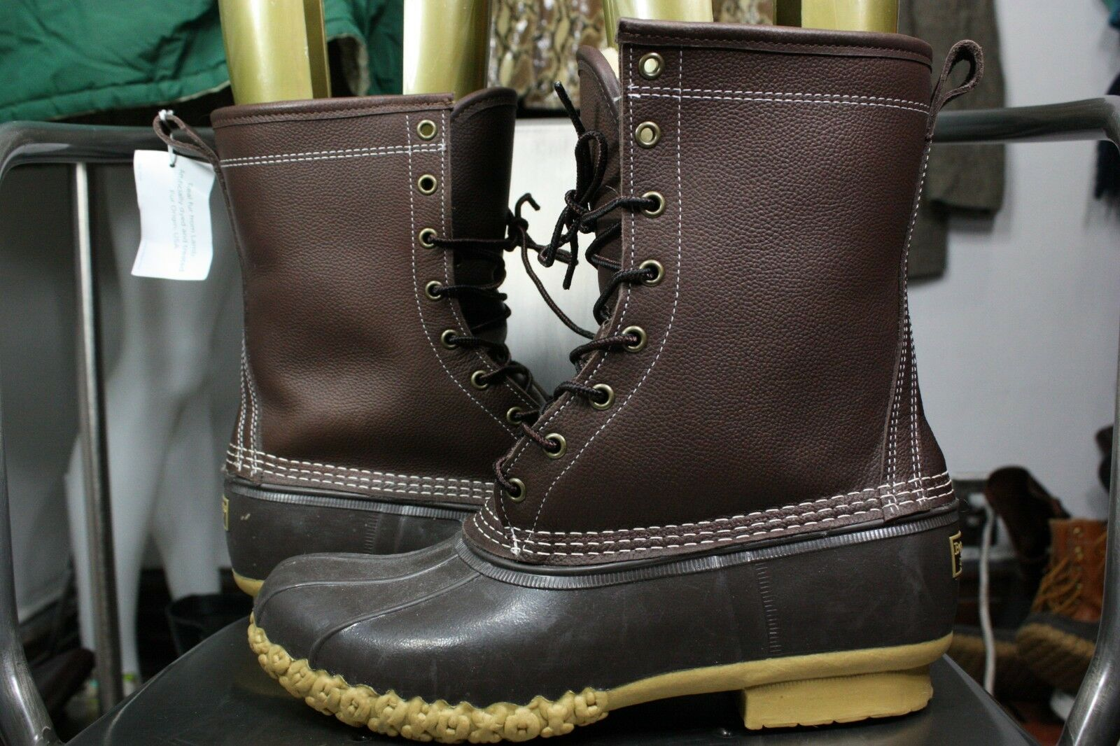 LL LL LL Bean boots 11 W shearling 10  lined leather rubber duck new womens winter a076f2