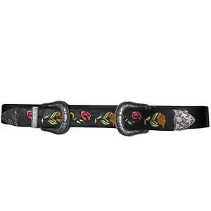 Cintura doppia fibbia alta borchie stile vintage nera floreale modello marcuzzi