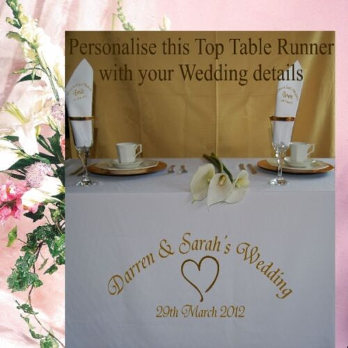 Personalised Wedding Anniversary Table Runner Table Cloth Choice of 9 Colours