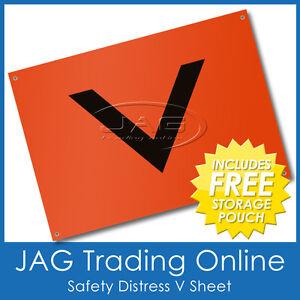 SAFETY DISTRESS SIGNAL V-SHEET ORANGE PVC - Marine Boat Regulation/Requirement