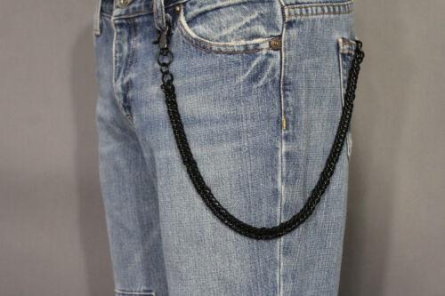 Men Women Black Chunky Metal Wallet Short Thick Chain Links Biker Jeans Trucker