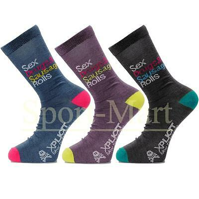 Mens Xplicit 3 Pack Sex Drugs & Sausage Rolls Silly Cotton Trainer Socks One Siz