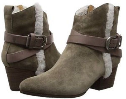 BELLE by Sigerson Morrison Laica Taupe Suede Ankle Boots Shearling Fur 7.5 NEW