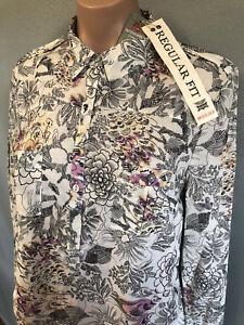 BNWT-Womens-Sz-18-Rivers-Regular-Fit-Cream-Floral-Cotton-Long-Tab-Sleeve-Shirt