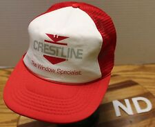 """VINTAGE CRESTLINE """"THE WINDOW SPECIALIST"""" TRUCKERS STYLE HAT SNAPBACK GOOD COND"""