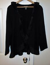 Cable & Gauge women plus sz 1x 14w 16w pleated silk dress knit sweater jacket