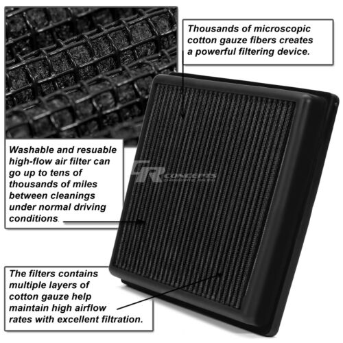 BLACK WASHABLE HIGH FLOW AIR FILTER FOR 11-14 FORD MUSTANG 3.7L//5.0L 2010 4.6L
