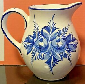 Ceramic-Pottery-Water-Jug-White-amp-Blue-Majolica-Portuguese-Hand-Painted-Vintage