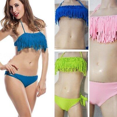 2pcs Sexy Girl Tassel Padded Boho Fringe Top Strapless Dolly Set Bikini Swimwear