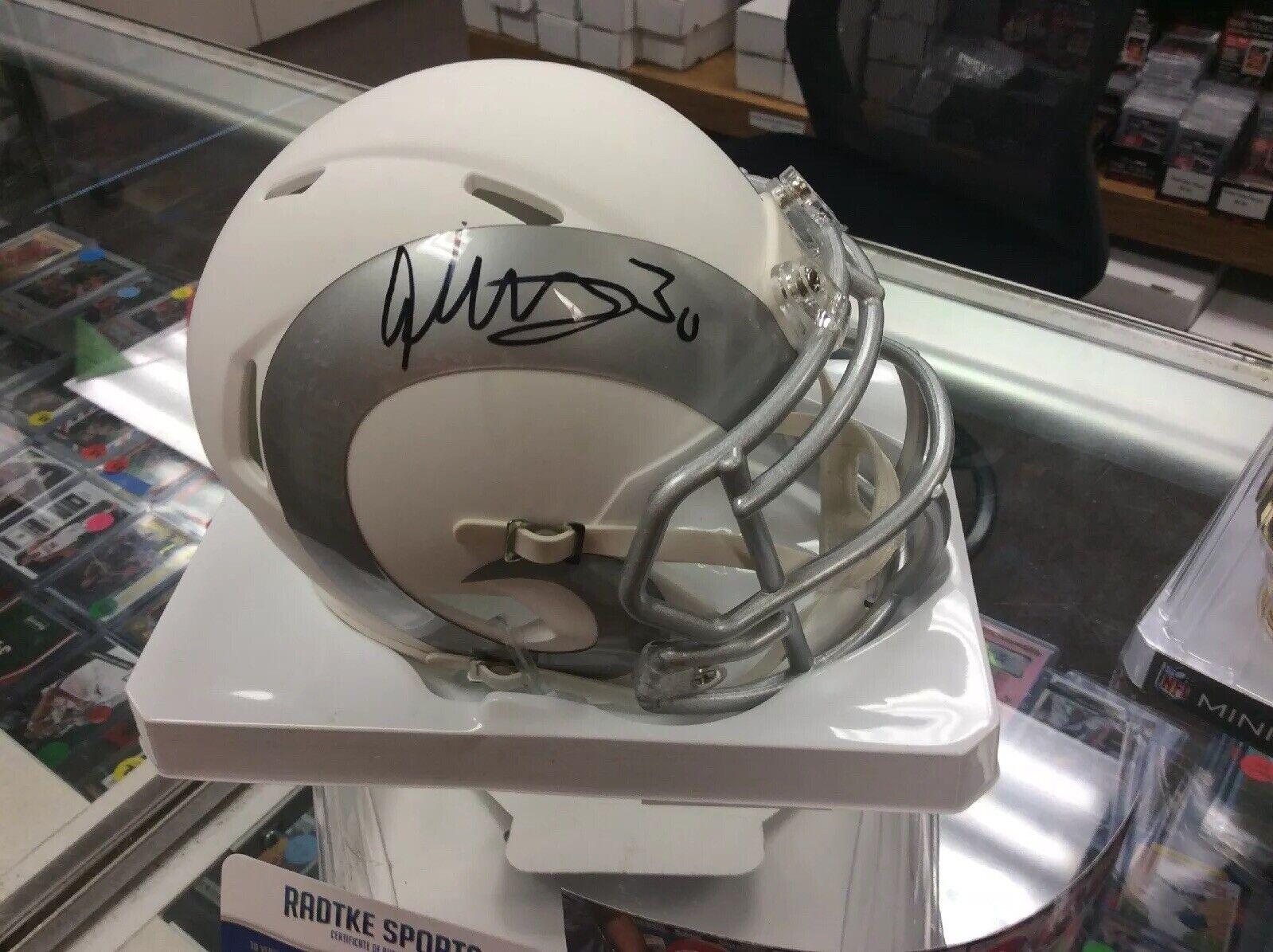 Todd Gurley Signed Rams bianca Ice Speed Mini Helmet  Radtke sportivo Coa