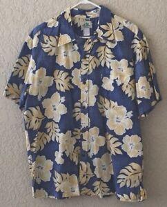 Paradise-Bay-Hawaiian-Shirt-Made-Hawaii-Mens-Size-XL-Blue-Floral-Reverse-Print