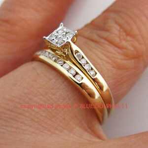 Engagement And Wedding Rings.Details About Real Genuine Natural Diamonds Solid 9ct Yellow Gold Engagement Wedding Rings Set