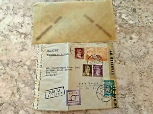 Vintage-Postage-Envelope-1943-Istanbul-to-New-York-City-Rare-Marks-Stamps