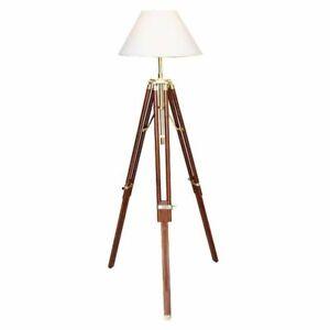 G4076: Maritime Tripot Stehlampe, Stativlampe Dreibein Lampe Stoff Schirm 146 cm