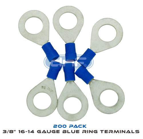 """3//8/"""" 16-14 GAUGE AWG BLUE RING TERMINALS ELECTRICAL WIRE CONNECTORS 200 PACK"""