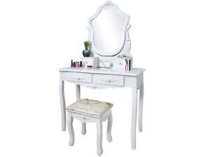 Specchiera specchio con sgabello 4 cassetti comodino da trucco