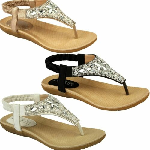 Ladies Elastic Metallic Sling Back Faux Leather Diamante Padded Fashion Sandals