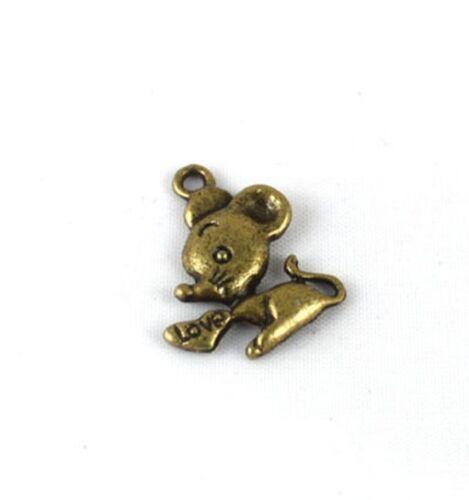 100PCS Antiqued Bronze Mouse Charm 20x17mm FC11333B