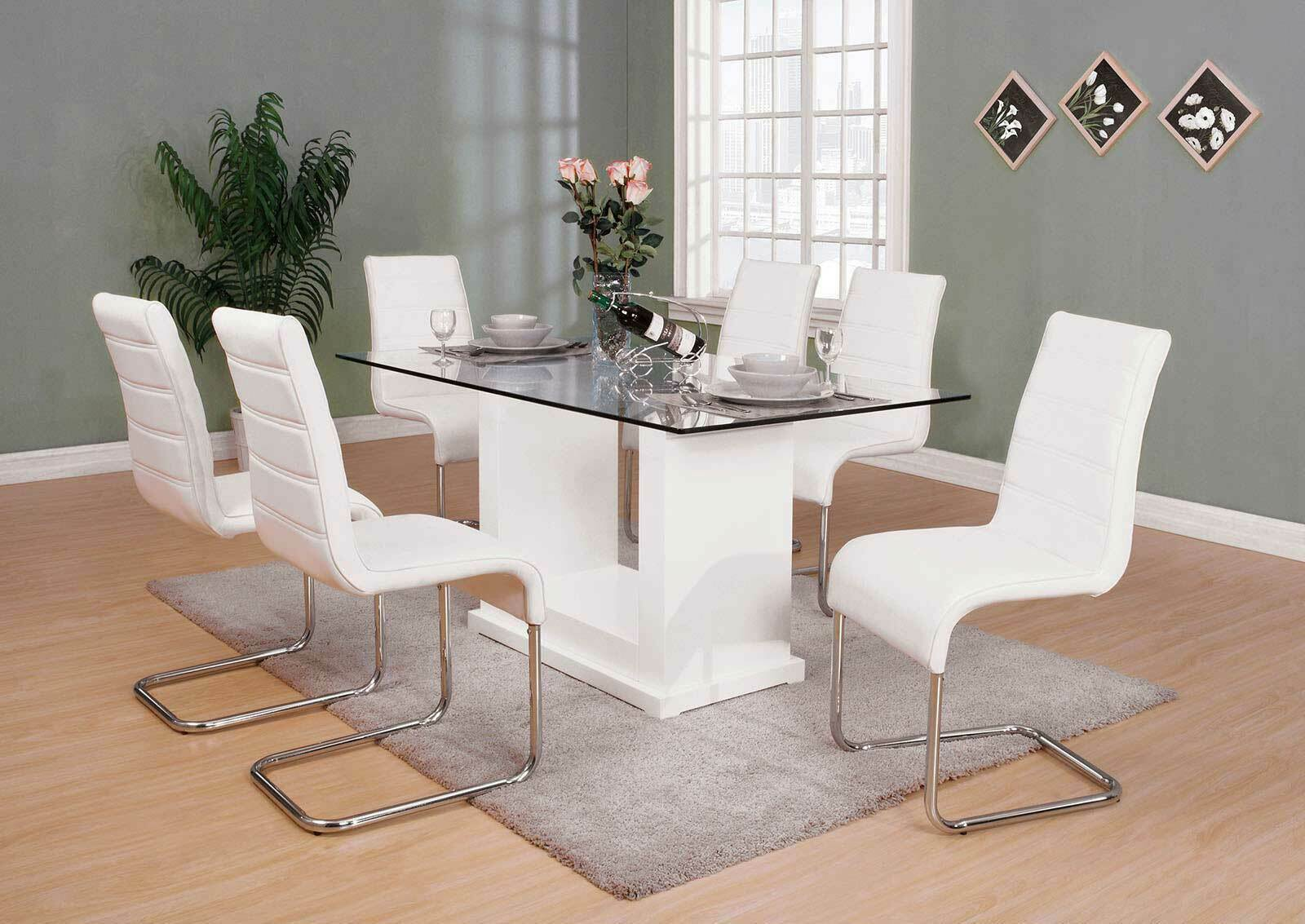 Modern 7 Piece Dining Room Set Furniture Glossy White Rect Table 6 Chairs Icei For Sale Online
