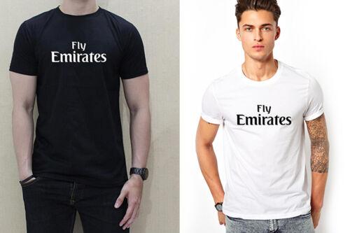 shirt 100/% cotton graphic tee FLY EMIRATES FONT LOGO men black white