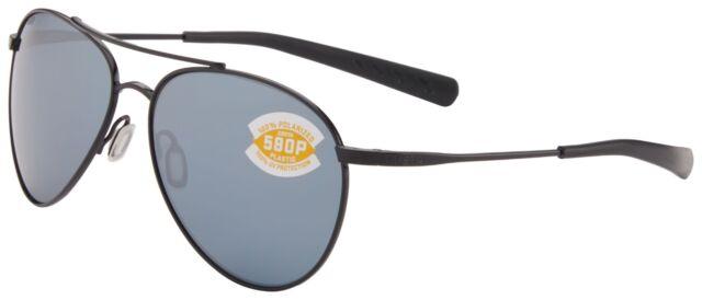 ea34934200 Costa Del Mar Piper Sunglasses PIP-101-OSGP Black 580P Grey Silver Polarized