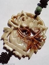 Vintage Chinese Nephrite Jade Lotus Flower Pendant White Russet Buddist Symbol