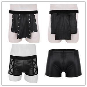 Men-039-s-Faux-Leather-Boxer-Briefs-Shorts-Underwear-Panties-Lingerie-Studded-Kilt