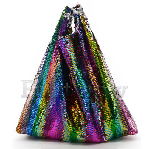 Femmes Rainbow Sequin Sac Grand Paillettes Sac à main réversible Paillette Sac à bandoulière