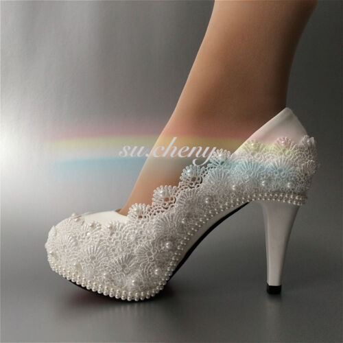 """su.cheny 3/"""" 4 /"""" heel white ivory lace pearls Wedding shoes pumps bride size 5-11"""