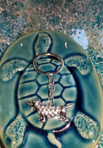 DACHSHUND IN PAVE STUDDED SWEATER KEY RING Wiener Dog Love Gift Silver Tone Dogs