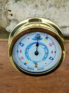 Horloge-des-marees-en-laiton-cadran-couleur-en-Francais-neuve-diametre-14-5cm