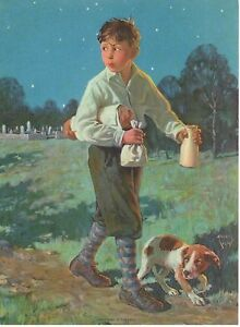 Authentic-Antique-Lithograph-034-WHISTLING-IN-THE-DARK-034-1920-039-s-Vintage-Art