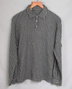 Vintage-1950s-NERO-amp-grigio-a-righe-maglione-maglia-camicia-lana-ORLON-XL