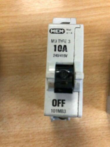 MCB MEM M9 TYPE 3 6amp 10amp 20amp 32amp TYPE D 1ph