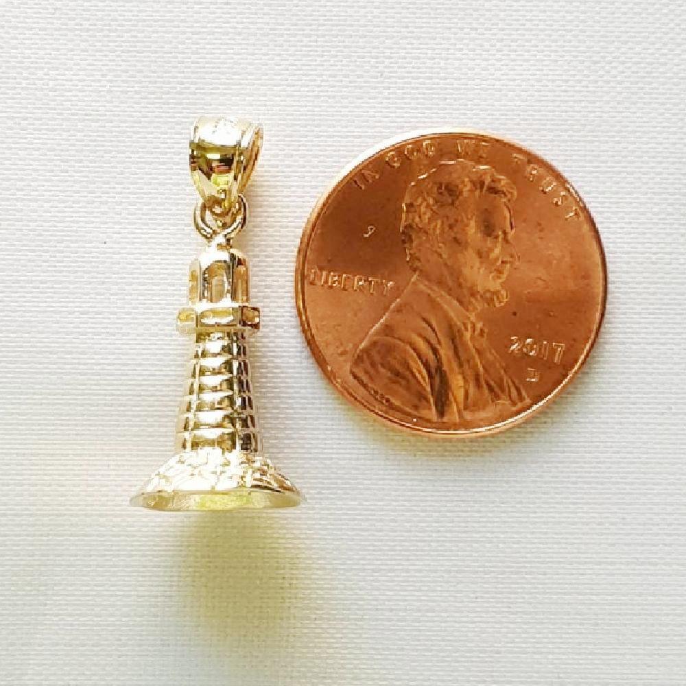 14k oro Giallo Faro 3d (3 (3 (3 Dimensional) Ciondolo   Ciondolo Fatti Negli USA 078cbe