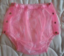 CULOTTE INCONTINENCE PLASTIQUE ROSE OUVRANTE - adult baby plastic pants - L40/44