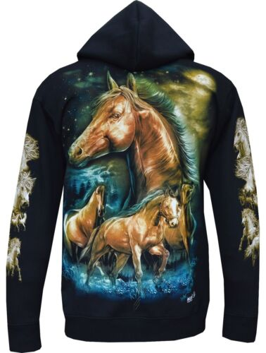 New Ladies Women Horse Stallion Pony Cute Animal Zip Zipped Hoodie Hoody Jacket