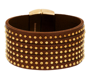 BRONZO-ITALIA-YELLOW-BRONZE-STUDDED-7-STRAND-LEATHER-AVERAGE-BRACELET-QVC