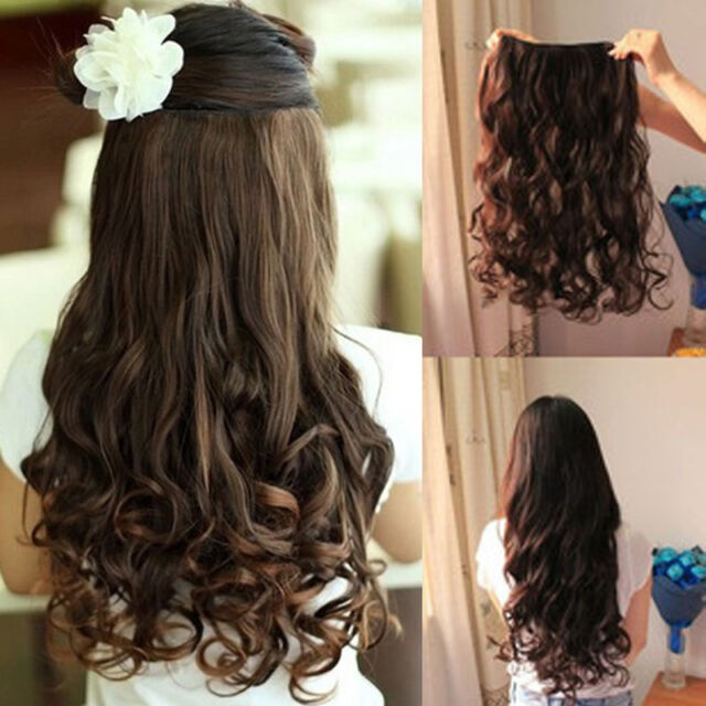 Women curly/Wavy Long extentions 5 clips in on hair synthetic 3 colors for Human